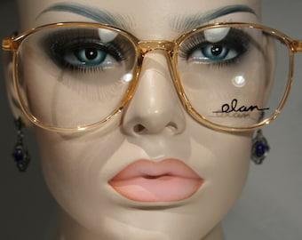 Unworn Vintage ELAN 7001 'Tan' Gorgeous Late 80's Plastic Honey Amber Clear Light Orange Oversized Large Eyeglasses Optical Glasses Frames
