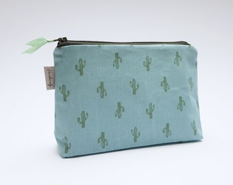 Cosmetic bag   Inside water-repellent   Cactus   Blue   Turquoise   Make-up bag   case