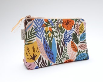 Cosmetic bag, cosmetic bags, make-up bags, make-up bag. Inside water-repellent, mustard yellow, flowers, leaves, jungle