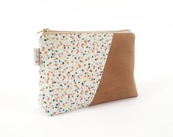 Cosmetic bag, cosmetic bag, make-up bag, make-up bag, colourful confetti, colourful dots, artificial leather, vegan leather, brown leather