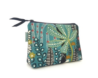 Cosmetic bag, cosmetic bag, make-up bag, cosmetic bag waterproof, jungle, forest, jungle, black, green, petrol, Vivilovely