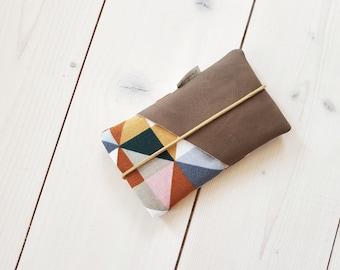 Handbag | brown leather / vegan leather / triangles / mustard yellow / upholstered / fabric bag