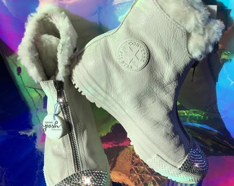 c0d4f40764ff Blinged Chuck Taylor All Star Shroud Faux Fur Lined Boot