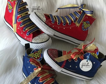207f5c5c57a3 Wonder Woman Inspired Custom Bling Converse Birthday Halloween Shoes
