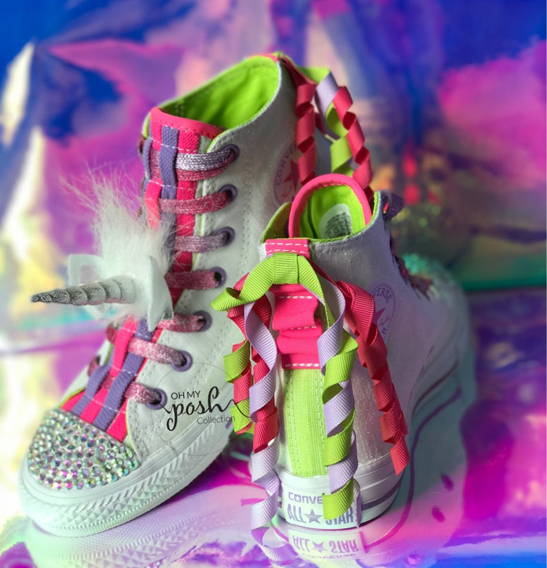 89c42ffbcd6c Jojo Siwa Unicorn Inspired Custom Rhinestone Converse Shoes.