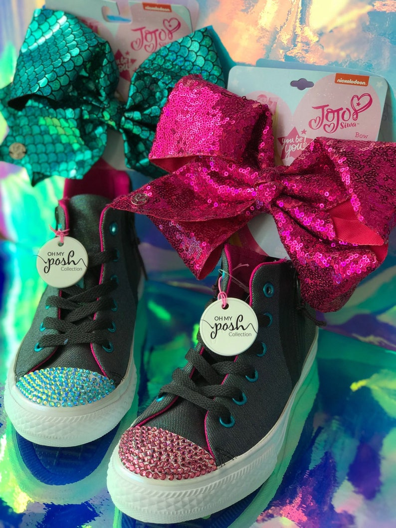 8cfcdd13dce Jojo Siwa Inspired Custom Rhinestone Converse Shoes and Hair