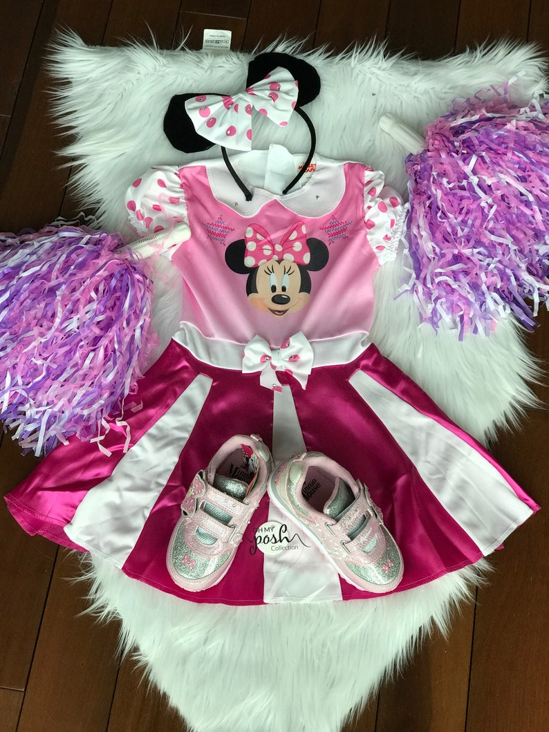 Girls Minnie Mouse Cheer Costume Disney Junior Minnie Mouse Halloween Costume and Rhinestone Embellished Light up Shoes Set Girl Birthday