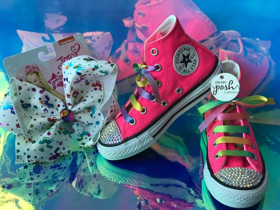 Jojo Siwa Inspired DREAM Tour Custom Converse Shoes and Authentic Signature Hair Bow Set