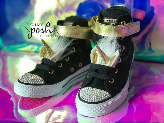 Jojo Siwa Unicorn Inspired Custom Rhinestone Converse Shoes.  cce75bd27