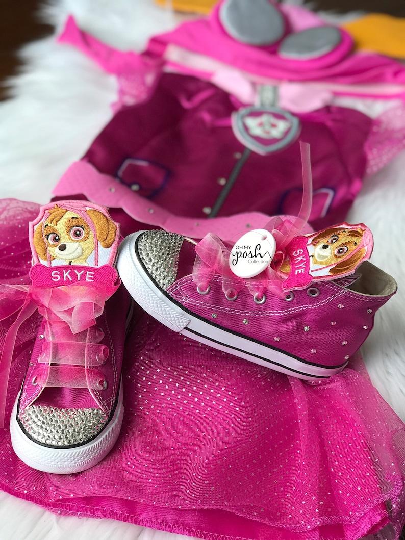 15e270aa1ab97 Girls Skye Costume - Paw Patrol Skye Halloween Costume and Converse Shoes  Set - Kids Birthday Paw Patrol Outfit