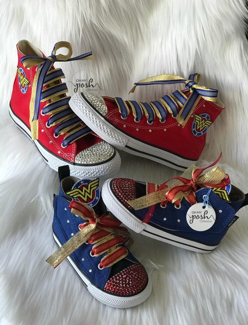 400aa4227315 Wonder Woman Inspired Custom Bling Converse Birthday Halloween