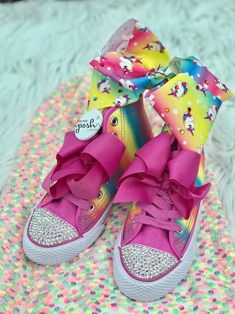 2eb0f3302fb36 Jojo Siwa Dream Tour Inspired Rainbow Shoes and Hair Bow Set