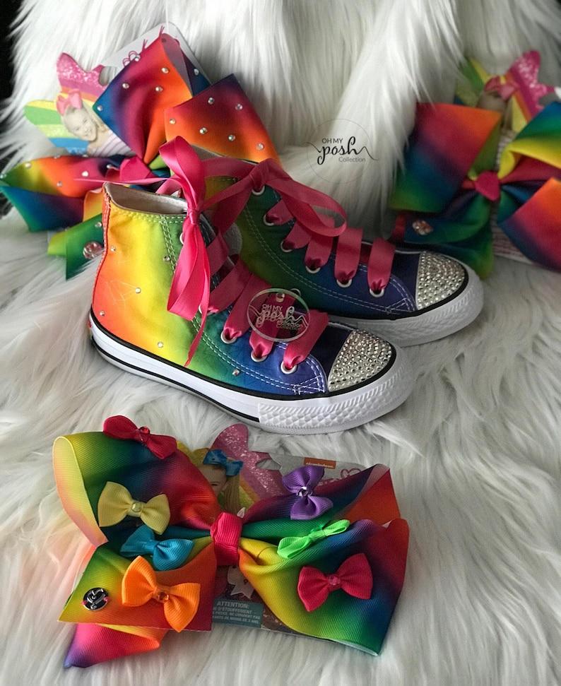 426713b178ce Jojo Siwa Inspired Custom Rhinestone Converse Shoes and Hair
