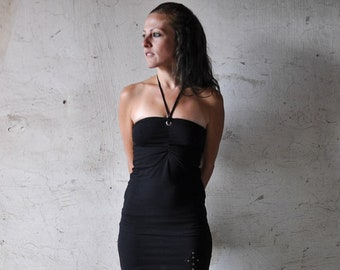 BANDEAU Top - Halter Neck, Cut-Out Top with Brass Eyelets ~ black