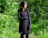 IVY - Knitted Coat, Between-Seasons Coat with Large Hood, Thumbholes and Pockets - black