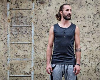 Tank Top/ Sleeveless Shirt ~ handprinted ~ with Rivets ~ gray, charcoal, dark gray S,L
