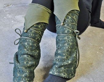 Warmly Lined Leg Warmers, Boot Cuffs ~ with Lacing and Brass Bells ~ Fleece ~ dark green, forest green