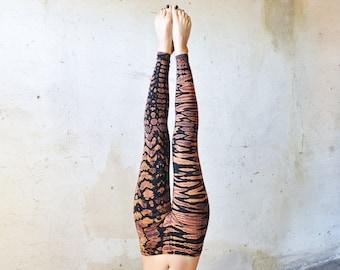 Tiger & Leopard look LEGGINGS -  Acrobatics, Yoga, Acroyoga - Batik, Tie-Dye - unisex - black-apricot-lilac