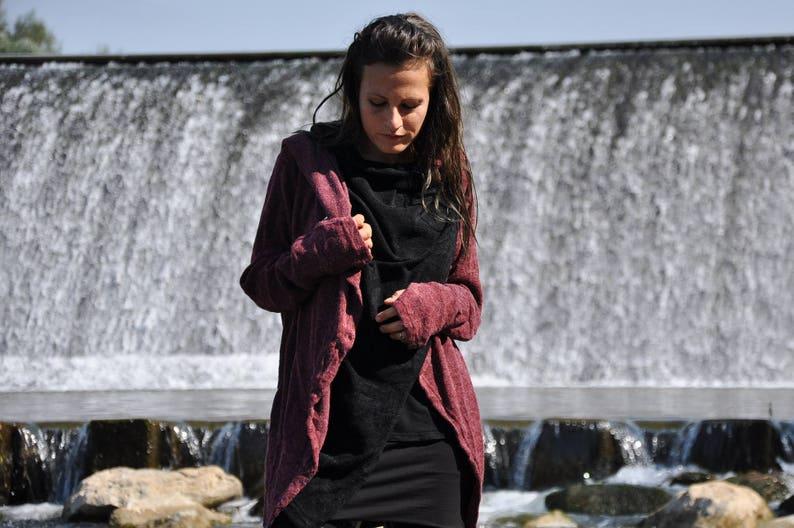 Cardigan Wrap Jacket two-ply with Large Hood and Thumbholes image 0