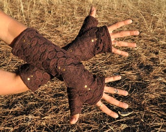 Arm Warmers, Wrist Warmers, Fingerless Gloves, Fingerless Mittens ~ with Lace and Rivets ~ brown