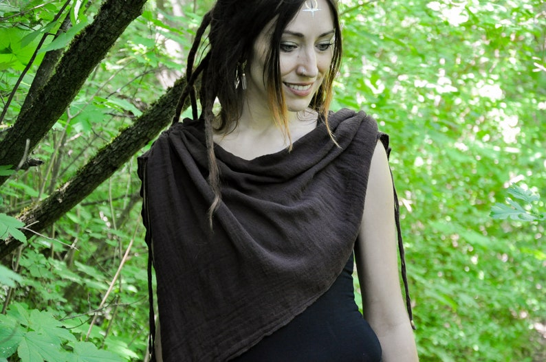 Hood with Long Pointy Ends ~ brown Scarf ~ Asymmetrical Cut Poncho