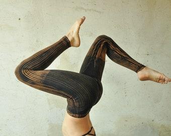 LEGGINGS Striped - Acrobatics, Yoga, Acroyoga - unisex - black-apricot