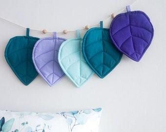 Purple turquoise mint blue garland leaf bunting for nursery children's bedroom decor