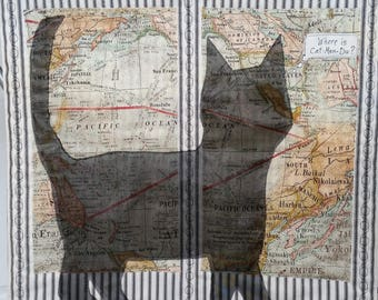 World map quilt wall etsy art quilt cat shadow plans a trip black cat tim holtz world map fabric black ivory ticking cotton print fabrics small quilts wall hangings gumiabroncs Image collections