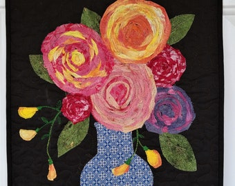 Flora Fantasy Bouquet in a Vase with Blue,Handmade Lap quilt using Artisan Spirit digitally printed fabric panel
