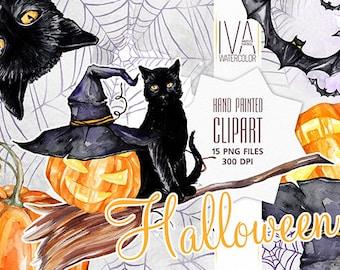 Halloween Clipart, Halloween Scrapbook, Hat, Black cat Clipart, Halloween Party, Bat, Pumpkin , Watercolor Clipart, Halloween watercolor