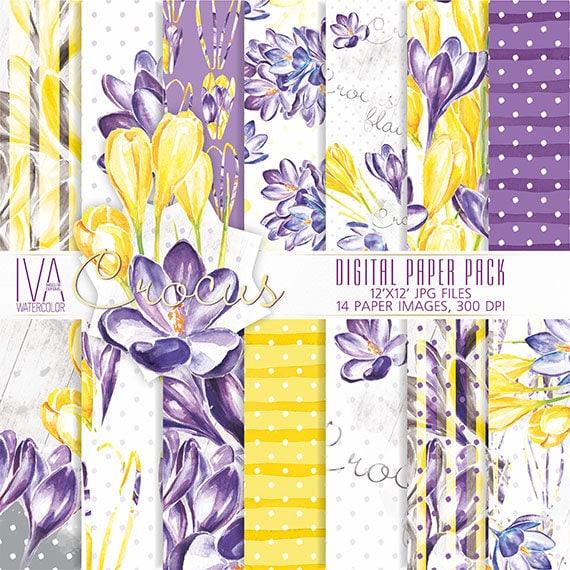 Spring digital paper pack crocus watercolor textures etsy image 0 mightylinksfo