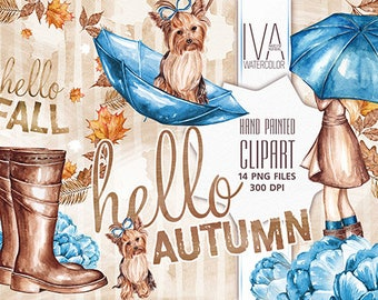 Autumn Clipart, Fall Clipart, Fall Watercolor, Fall Scrapbooking, Watercolor Clip art, Autumn Clipart for planner stickers