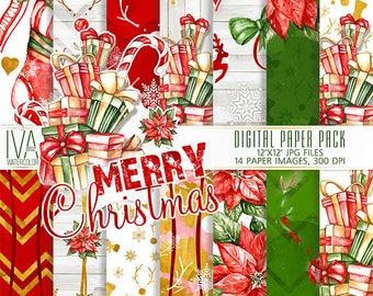 Christmas Digital Paper Pack, Christmas Seamless Patterns, Christmas scrapbooking, Watercolor Digital Paper Christmas, Xmas fireplace,