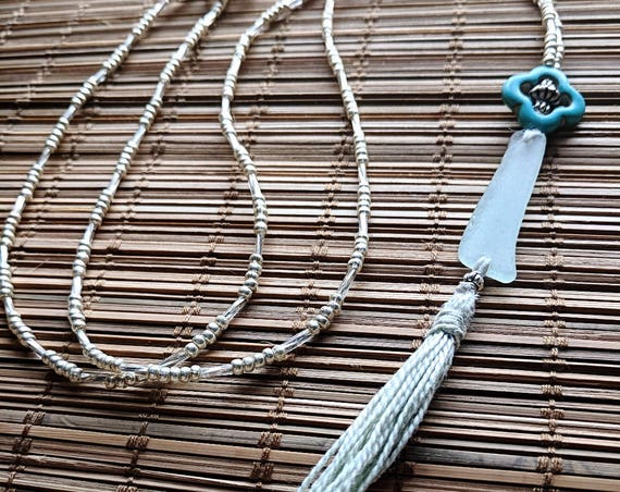 Sea Glass Necklace // Beaded Bohemian Seaglass Necklace // Turquoise Pendant Tassel Necklace // The Moroccan Night Necklace