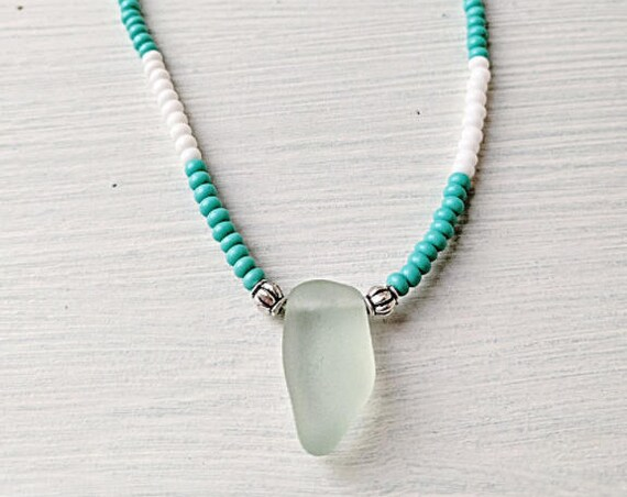 Sea Glass Necklace // Beaded Turquoise & White Bohemian Necklace // The Beach Hut Necklace // Bohemian