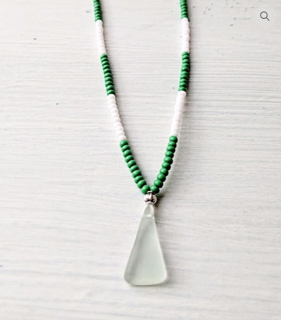 Sea Glass Necklace // Beaded Green & White Bohemian Necklace // The Beach Hut Necklace // Bohemian