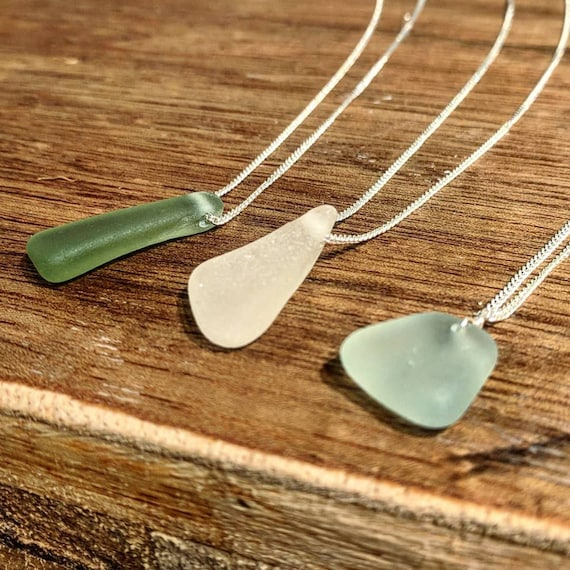 Sea Glass Pendant Necklace // Sterling Silver Chain // Unique // Bohemian // Vintage Glass // Made To Order // Bespoke