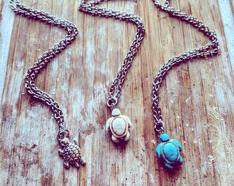 Turtle Pendant Necklace // Bohemian Women's & Girl's Gift // Turquoise, Silver or Stone Turtle Charity Necklace