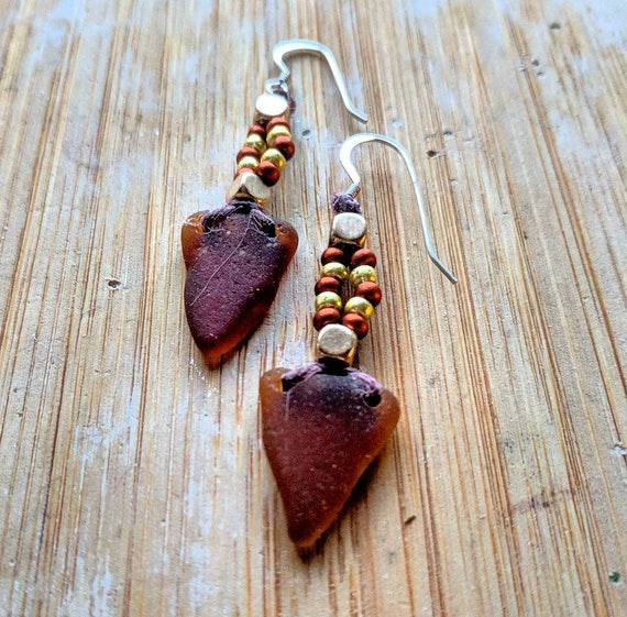 Sea glass earrings // amber arrowhead sealass dangle earrings // Bohemian beaded drop earrings // The Autumn Aura Earrings