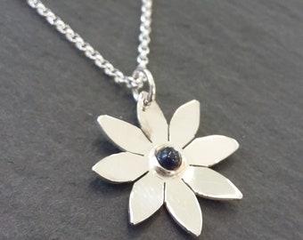 September Sapphire Gemstone Flower Pendant