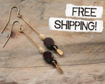 Czech Glass Bead and Gemstone Gold Drop Dangle Earrings | Deep Violet Flat Rectangle Picasso Czech Bead Drop Dangle with Smokey Quartz