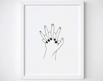 Hand Hold Print, Gift for Boyfriend, Gift for Girlfriend, Couple Wall Art, Romantic Doodle Print, Tumblr Room Decor, Tumblr Line Art Print
