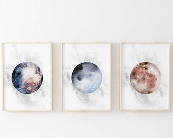 Moons Print Set, Watercolor Moons Print Set, Set of 3 Nursery Printables, Moon Prints Bundle, Watercolor Moon Printable, Celestial Prints