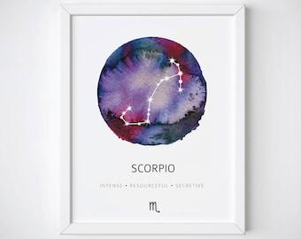 Scorpio Constellation Print, Constellation Watercolor, Scorpio Print, Nursery Wall Art, Zodiac Constellation, Scorpio Gift, Zodiac Print