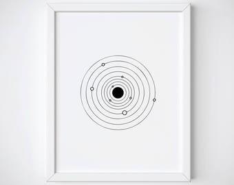 Solar System Print, Galaxy Line Art Print, Tumblr Room Decor, Celestial Art Print, Tumblr Prints, Line Art Printable, Minimalist Art Print