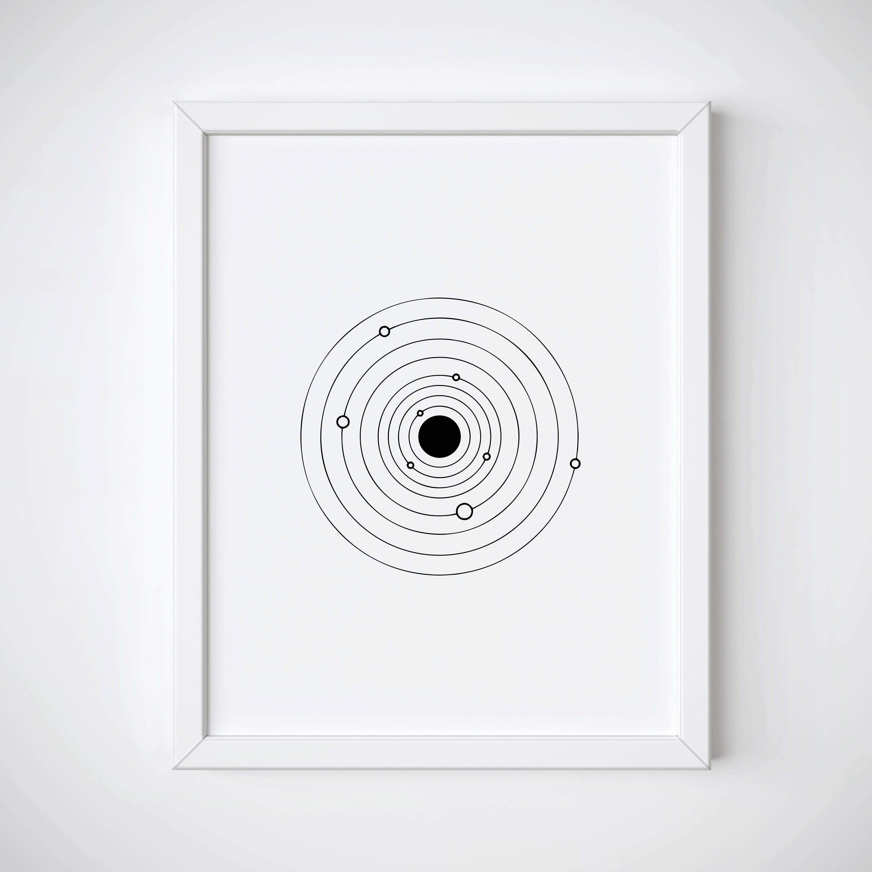 Solar System Print Galaxy Line Art Print Tumblr Room Decor