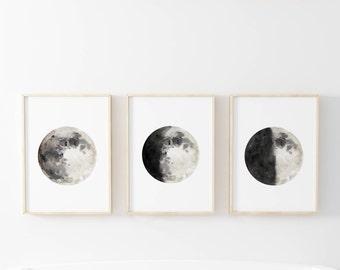Moon Phase, Moon Phases Set, Set of 3 Prints, Moon Phases Wall Art, Moon Watercolor, Moon Print, Celestial Wall Art, Moon Decor, Nursery Art