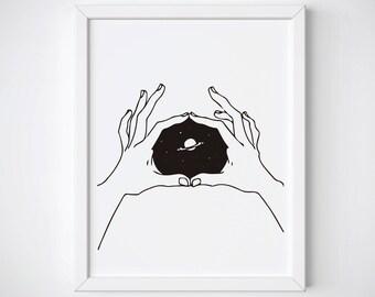 Hands Drawing Print, Galaxy Doodle Printable, Tumblr Room Decor, Galaxy Drawing Art, Minimalist Print, Teen Room Wall Art, Astronomy Gift