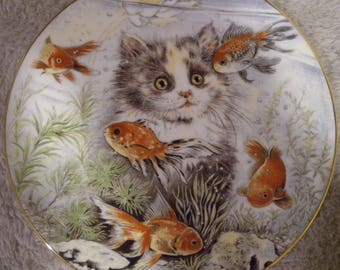 "1986 Pam Cooper ""Fishful Thinking"" Limited Edition Collector Plate from The Kitten Encounters Collection"