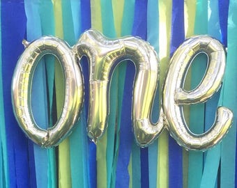 "ONE script White Gold Mylar Balloons - 30"" Long"